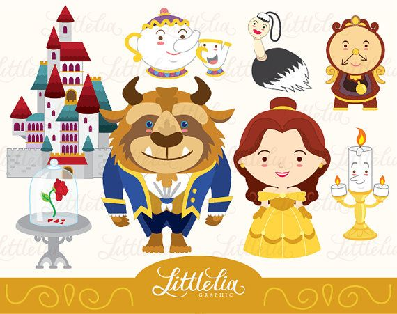 Princess clipart Belle and Beast clipart set by LittleLiaGraphic