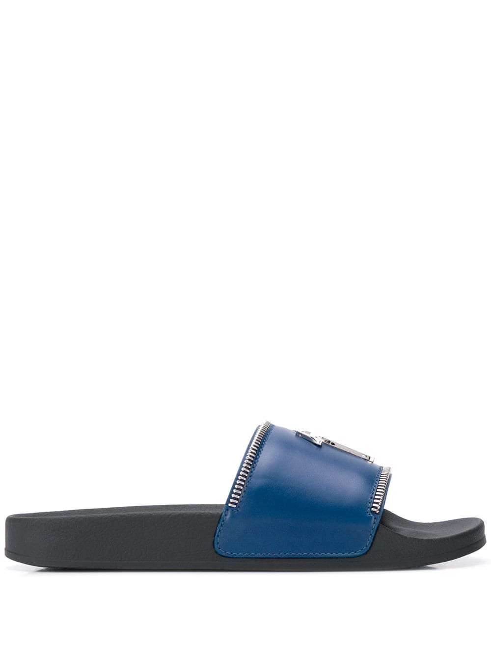 db690700a GIUSEPPE ZANOTTI GIUSEPPE ZANOTTI BRETT ZIP SLIDES - BLUE.  giuseppezanotti   shoes