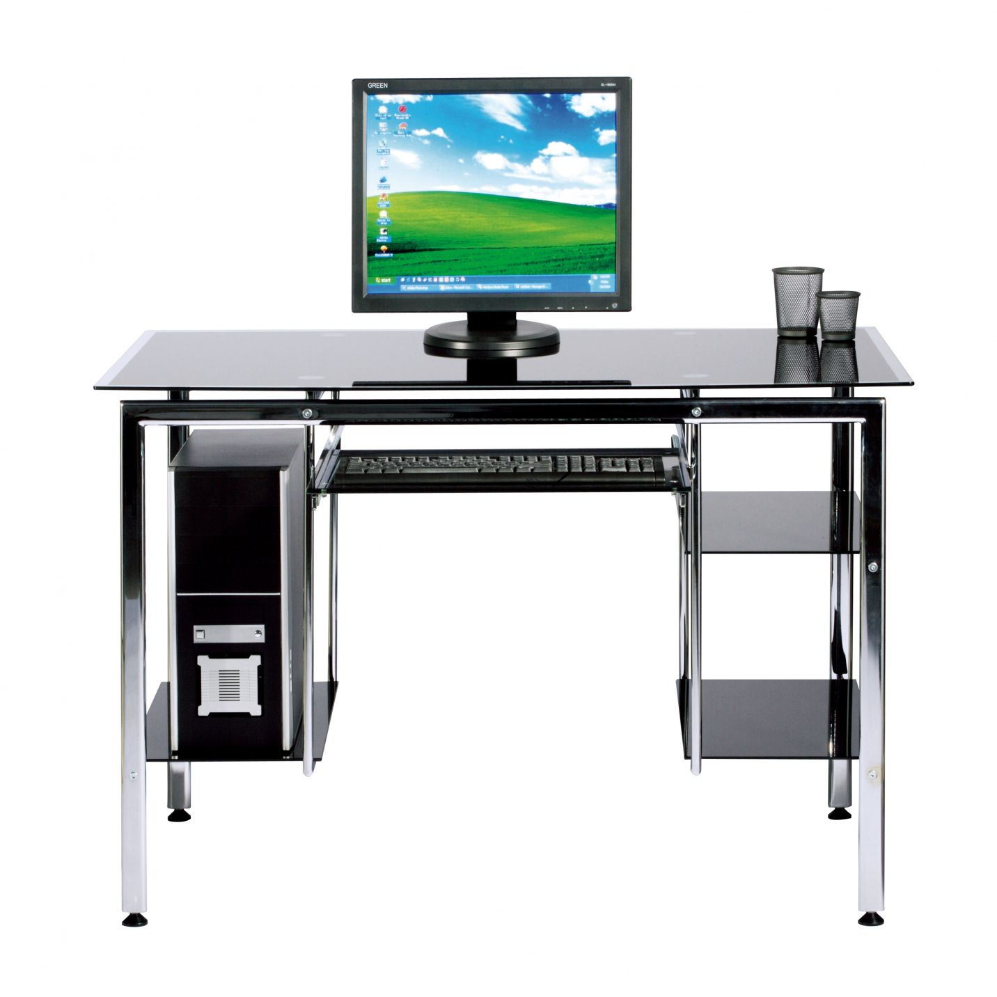Black Tempered Glass Computer Desk Home Office Furniture