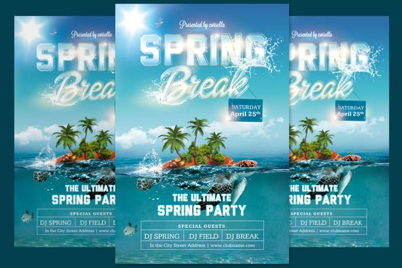 Spring Break Party Flyer By Imagearea On Creativemarket  Hawk