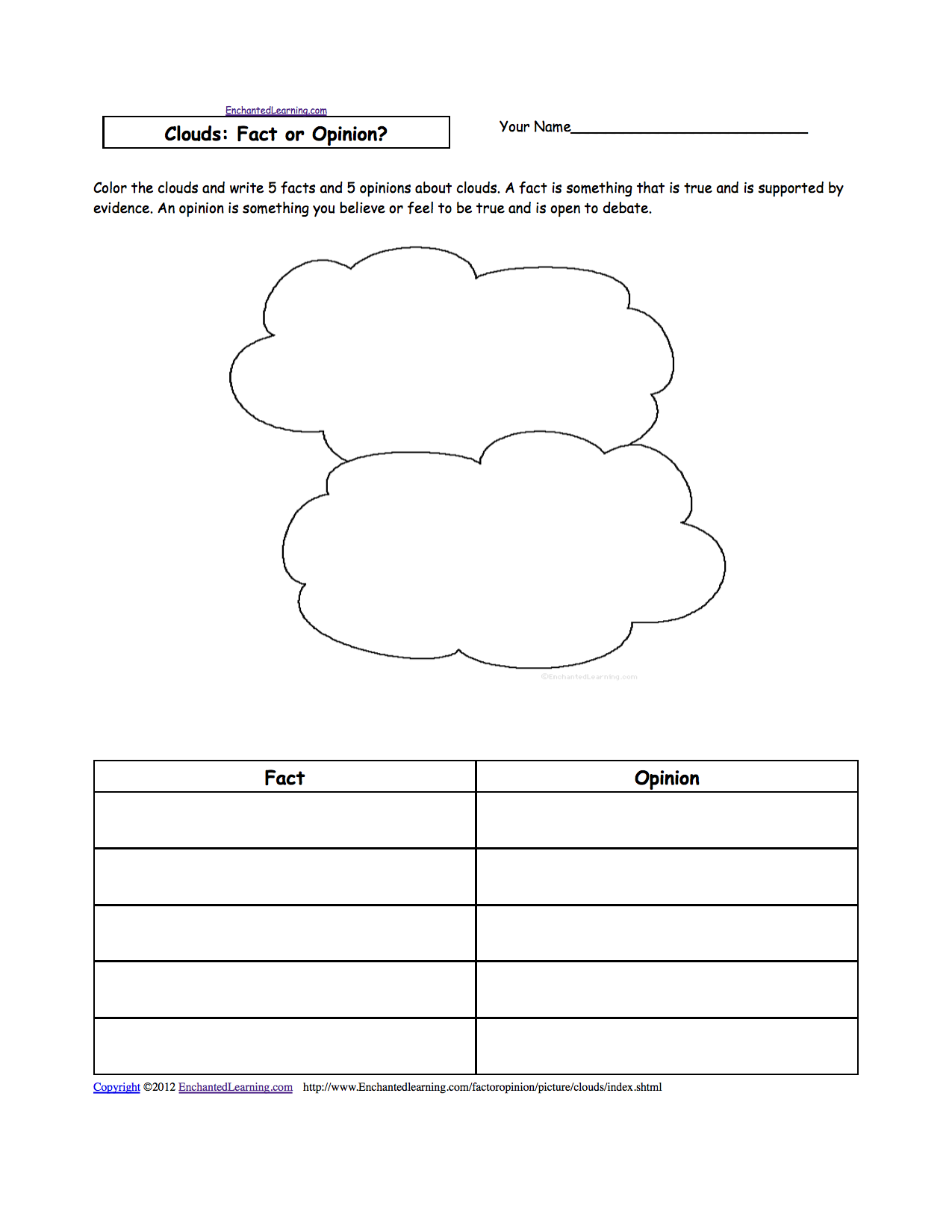 hight resolution of Picture: Fact or Opinion? Worksheets to Print - EnchantedLearning.com    Weather and climate
