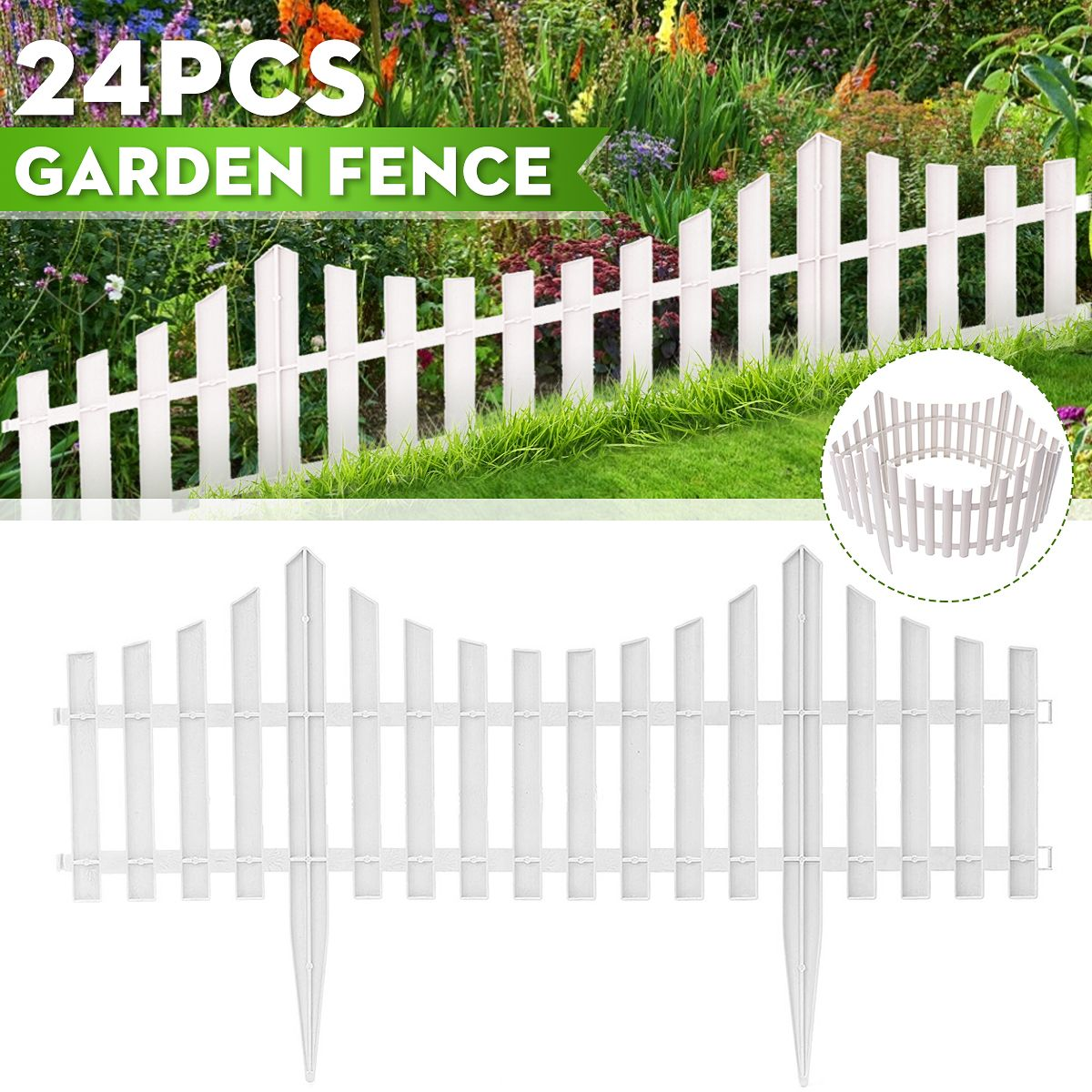 On Clearance 24 Pack White Vinyl Picket Garden Border Fence 48 Ft Long Garden Border Fencing Fence Pannels Outdoor Landscape Decor Edging Yard Walmart Com In 2020 Outdoor Landscaping Grass Edging Landscape Decor