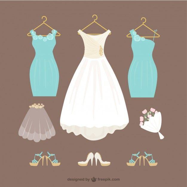 vestidos de novia Vector Gratis   Wedding   Pinterest   Vectores ...
