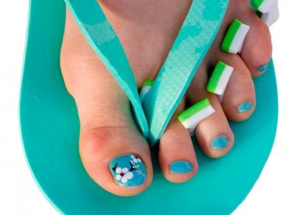cherry blossom toe nails