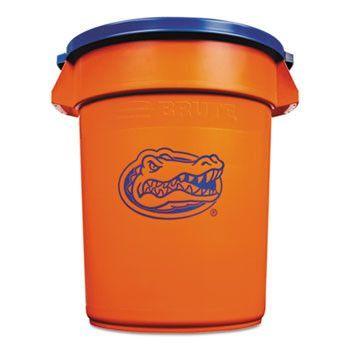 Team Brute Round Container W/lid, Florida Gators, 32 Gal, Plastic, Orange/blue