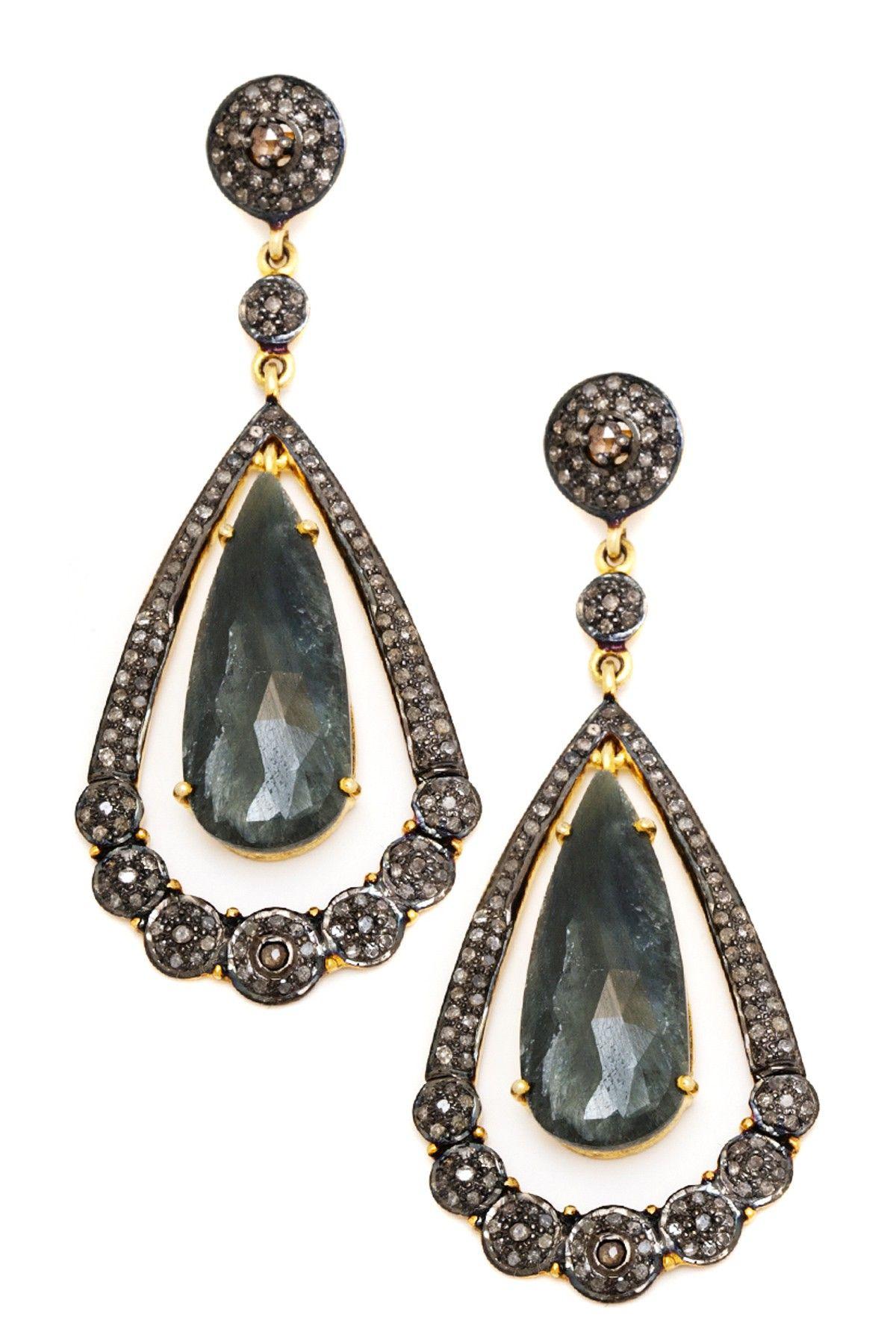 sliced sapphire champagne diamond earrings epic. Black Bedroom Furniture Sets. Home Design Ideas