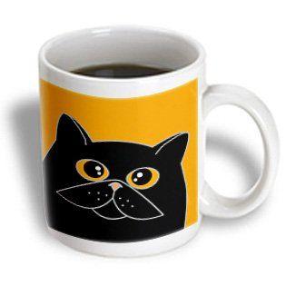 3drose The Curious Cat Black With Orange Eyes Orange Ceramic Mug 11 Ounce Review More Details Here Cat Mug Curious Cat Mugs Cat Mug
