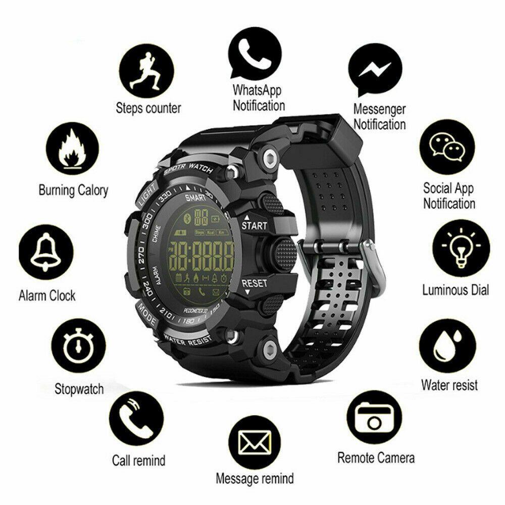 Smart Sport Watch Bluetooth 50M Waterproof Fitness Tracker Wristwatch Black US - Fitness Watch - Ide...