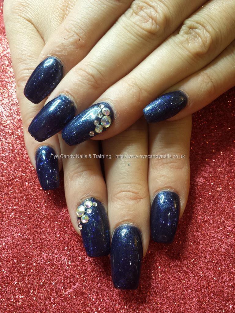 Dark blue gel with cuccio blue glitter and swarovski crystals #nails ...