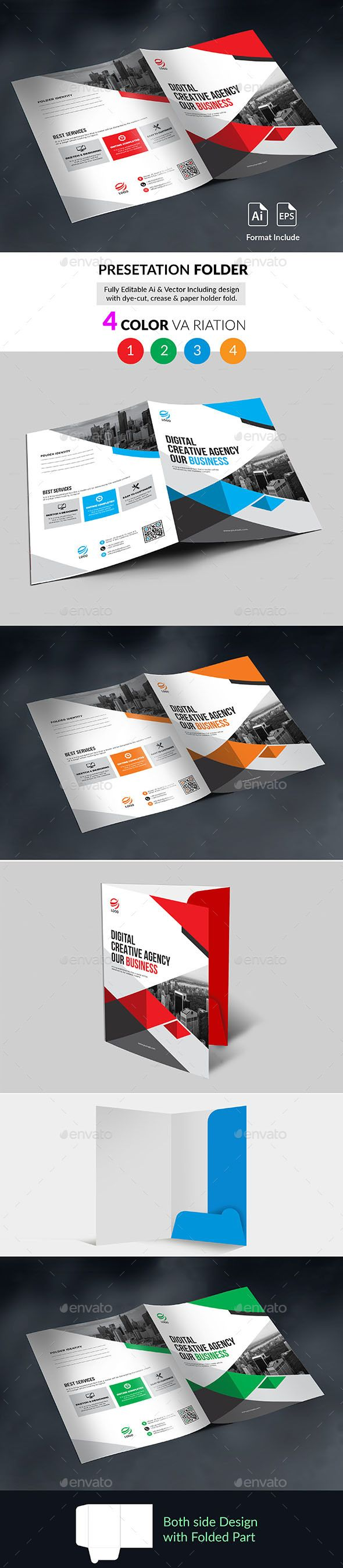 Presentation Folder Template Vector EPS, AI Illustrator | Folder ...