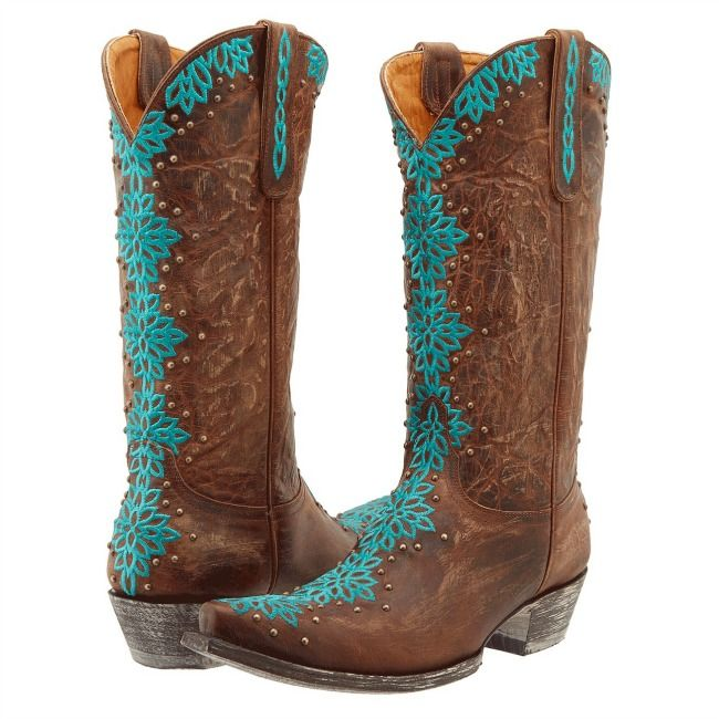 Cheap Brown And Turquoise Cowgirl Boots - Yu Boots