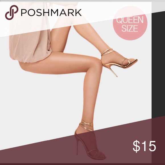 20 denier control top pantyhose in nude Natural nude color, 20 denier,  shine sheer, leg slimming with no roll waistband. Queen size fits  comfortably up to ...