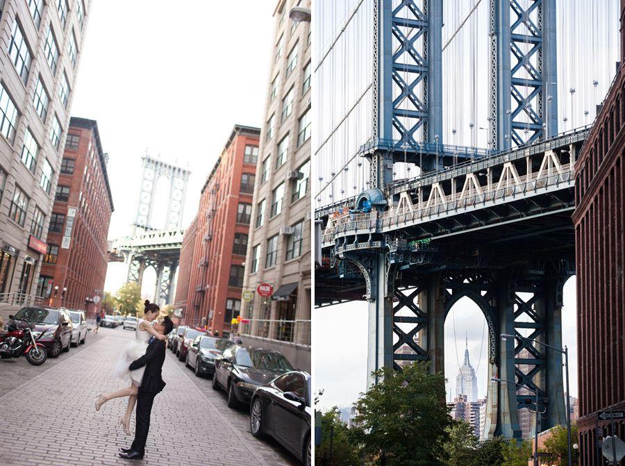 브루클린 덤보 지역에서 촬영한 뉴욕 허니문 스냅 사진 입니다