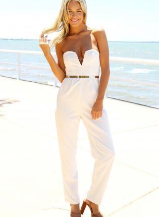 af1bdf85b723 white pantsuit  goldbelt  playsuit  deepv