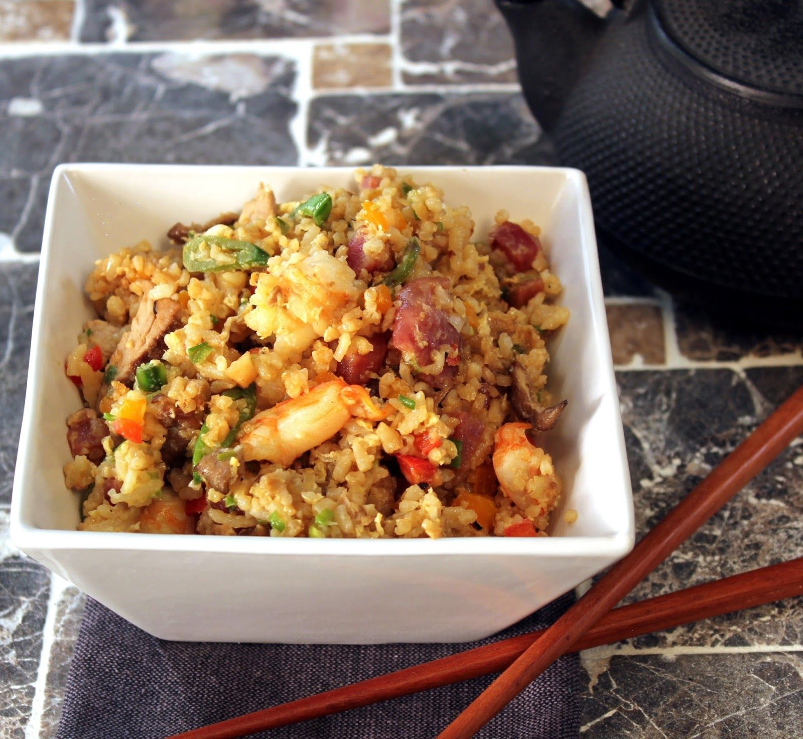 Kicked up fried rice with shrimp and crabmeat whats for dinner fried rice is so simple to make at home and you can play with the ingredients if you cant find chinese sausage buy a sweet dry sausage ccuart Choice Image