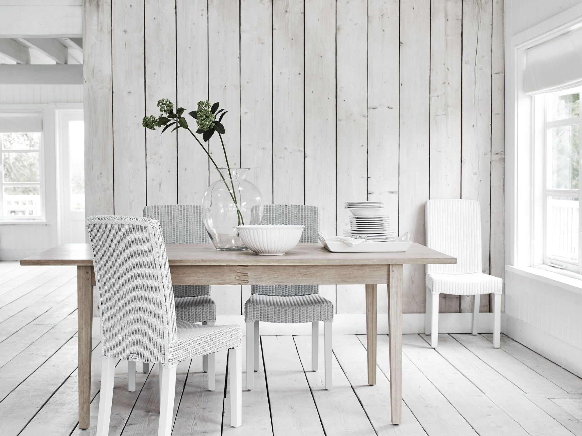 Our #ShakerStyle Wardley table, with Lloyd Loom dining chairs ...