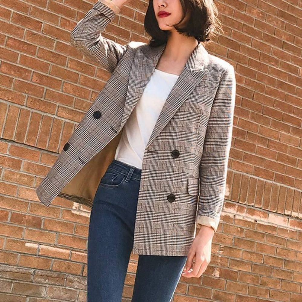Women Chic Plaid Blazer Long Sleeve Pockets Double Breasted Coat Vintage Female Casual Outerwear Office Wear Tops