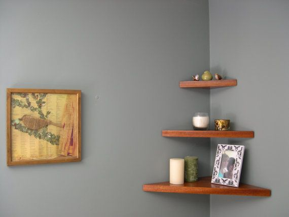 Corner Shelf 3 Tier Floating Concealed Bracket Made From Jatoba Corner Shelves Shelves Home Decor