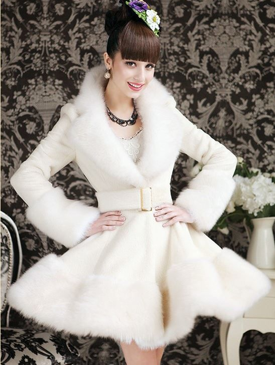 White Fur Jacket for Women-White Winter Coat- Ruffled Coat for ...