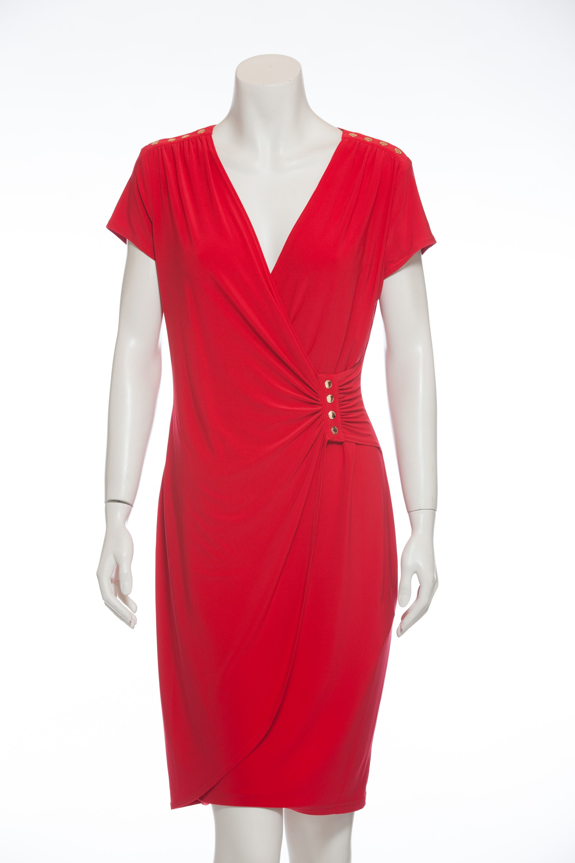 Stretchkleid in Wickeloptik      Leuchtend rotes Sommerkleid von Joseph Ribkoff     Ungefüttert und federleicht     8% Elastananteil   ...