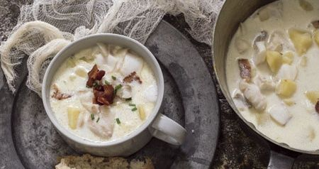 This recipe for fish chowder is adapted from the 1976 book The Taste of Gloucester: A Fisherman's Wife Cooks. The ingredients are simple, but patient cooking will yield delicious flavor.