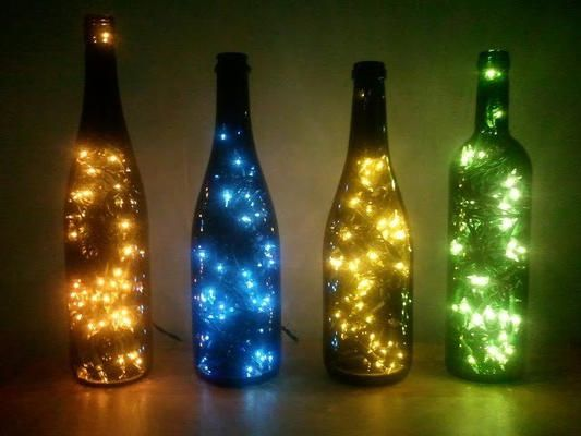 Lighted wine bottles instructions.