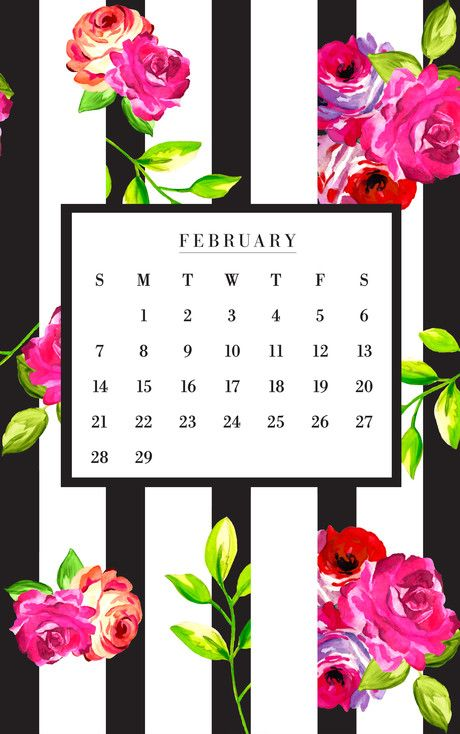 February floral and stripes phone + desktop background ...