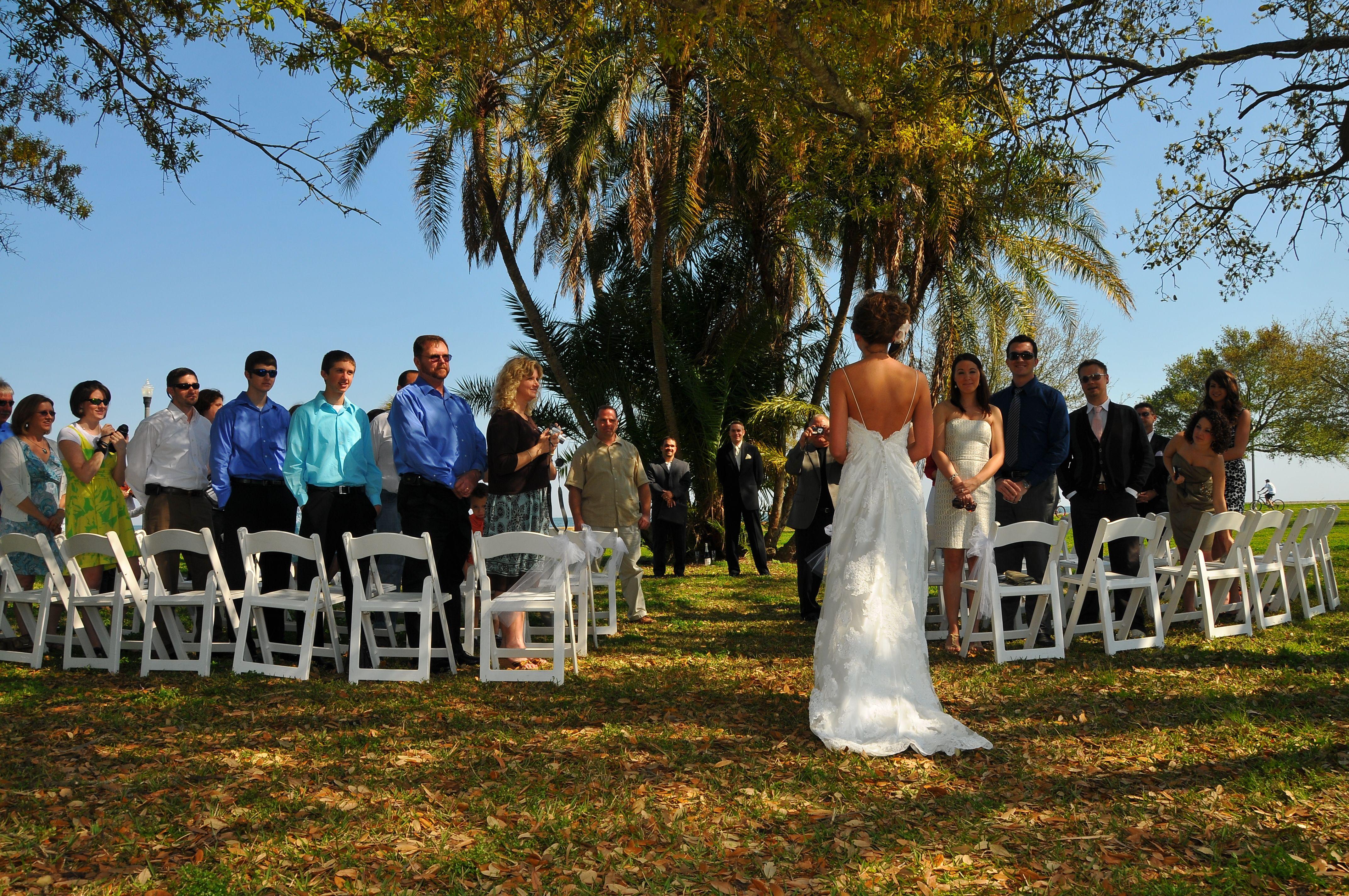 Outdoor garden waterfront wedding in downtown st