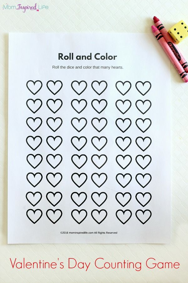 roll and color valentines day counting game - Free Valentine Games