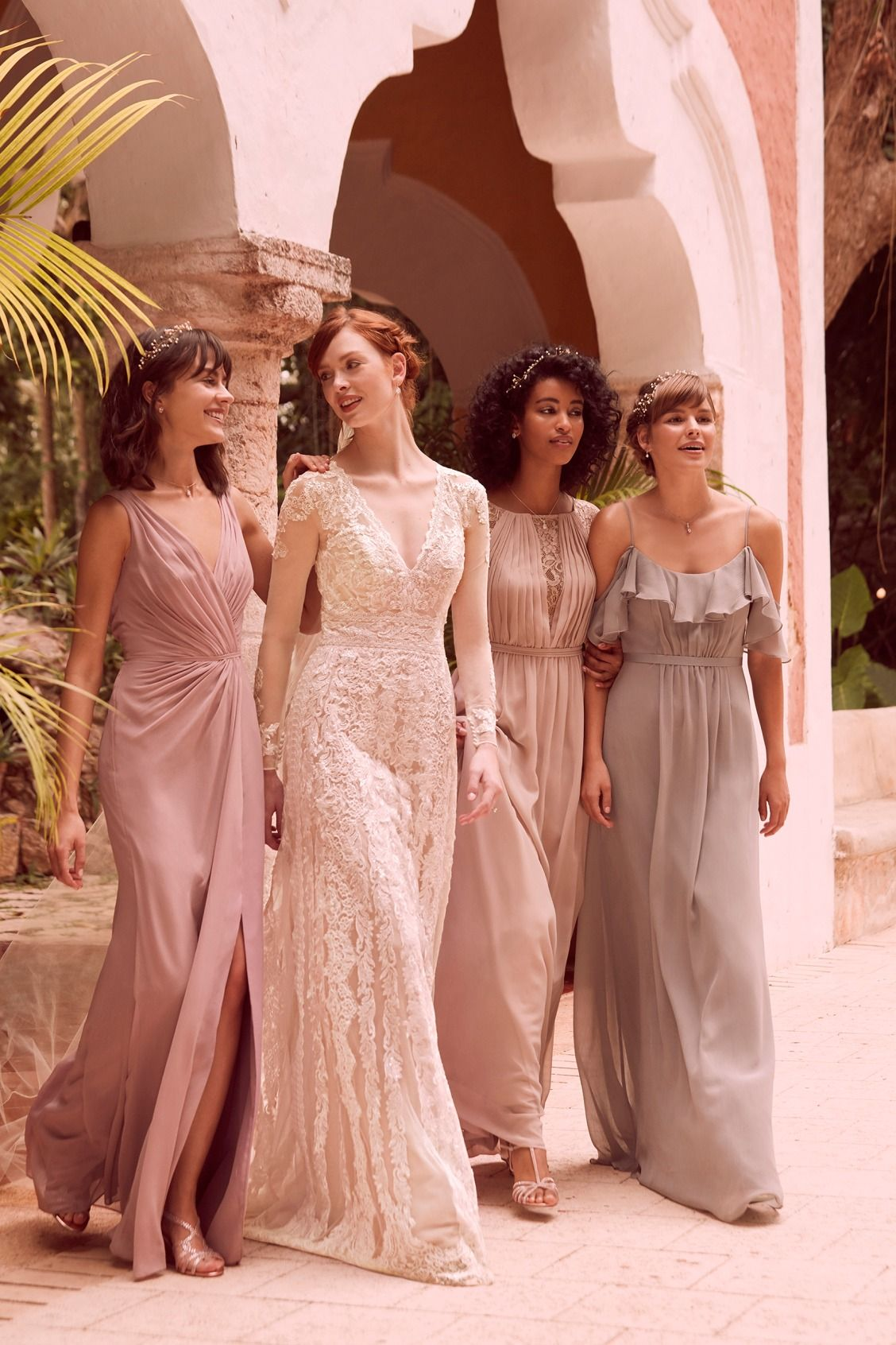 Mismatched bridesmaid inspiration this rose quartz v neck mismatched bridesmaid inspiration this rose quartz v neck bridesmaid dress gold metallic chiffon ombrellifo Images