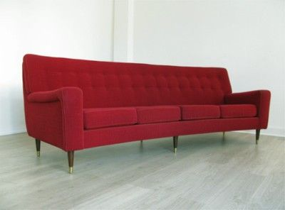 1960s LARGE RETRO RED DANISH CURVED SOFA COUCH 60s 70s (04/29/2011 ...