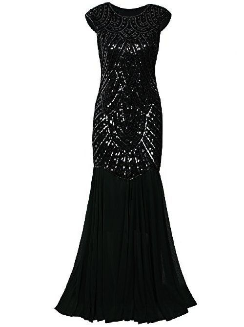 Vijiv 1920s Gown Gatsby Beaded Sequin Art Deco Long Flapper Evening ...
