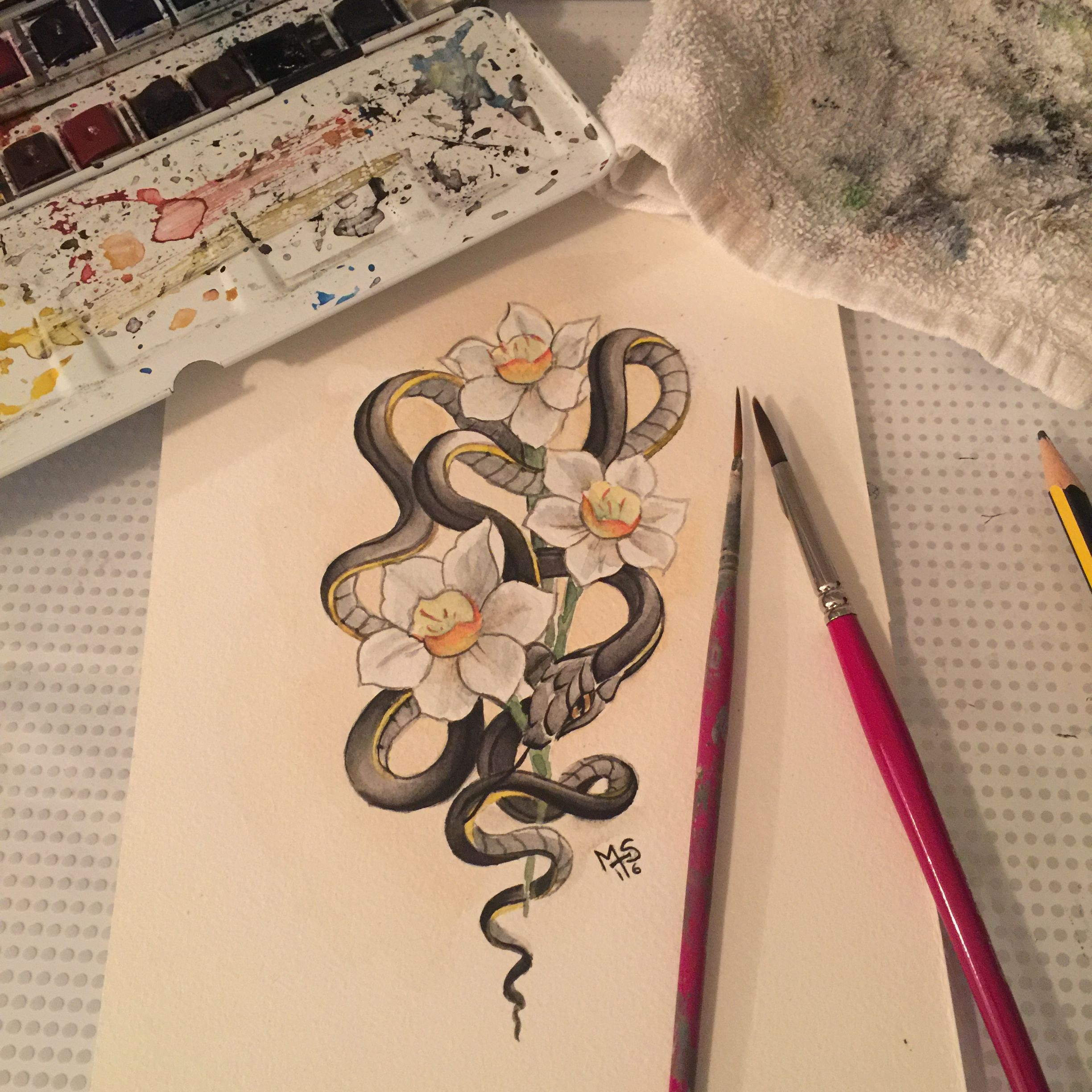 Snake And Flowers Watercolor By Mamma Sandi Gem Tattoo Flower