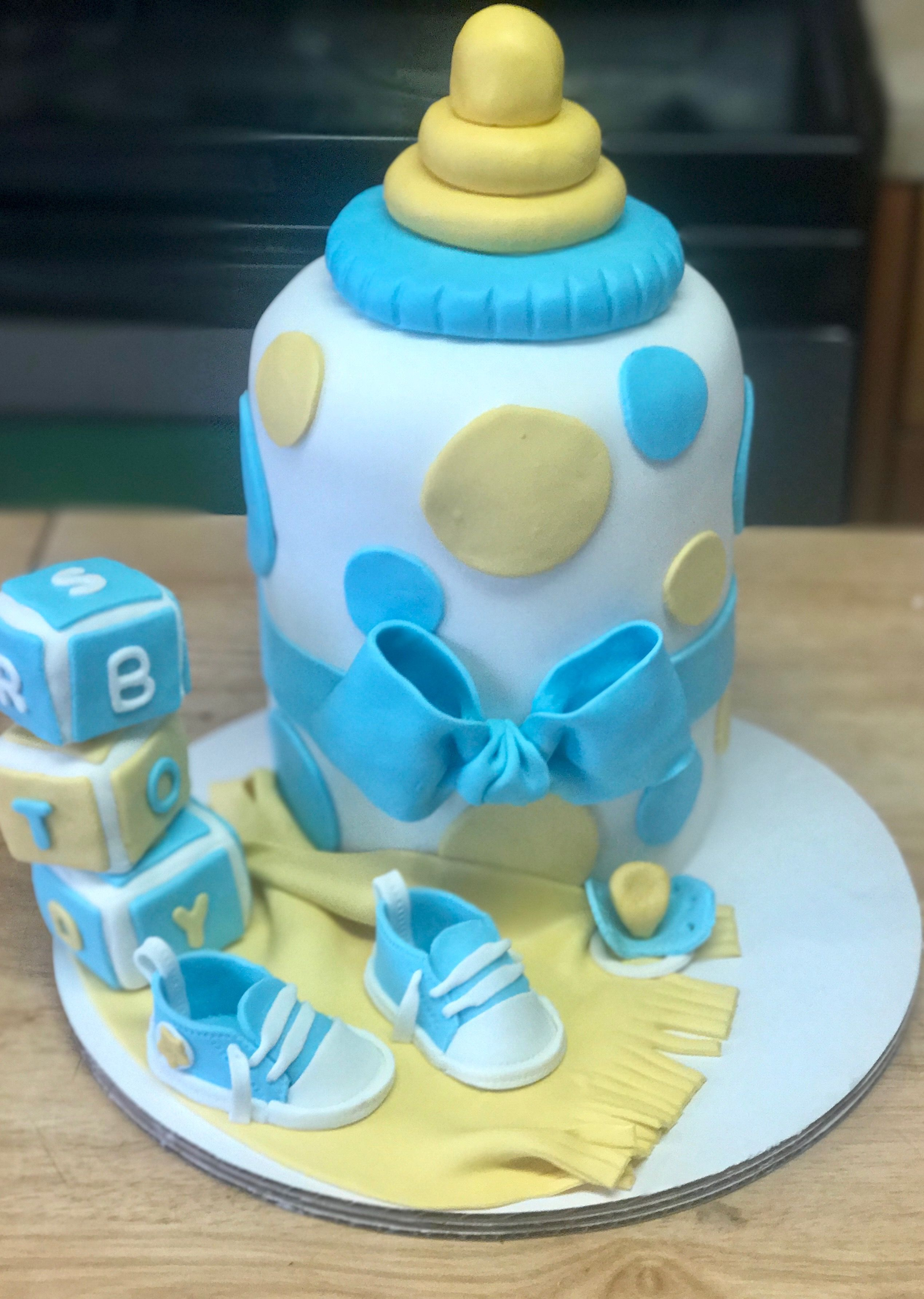 Baby Boy Baby Shower Cake Baby Bottle With Blocks With Images