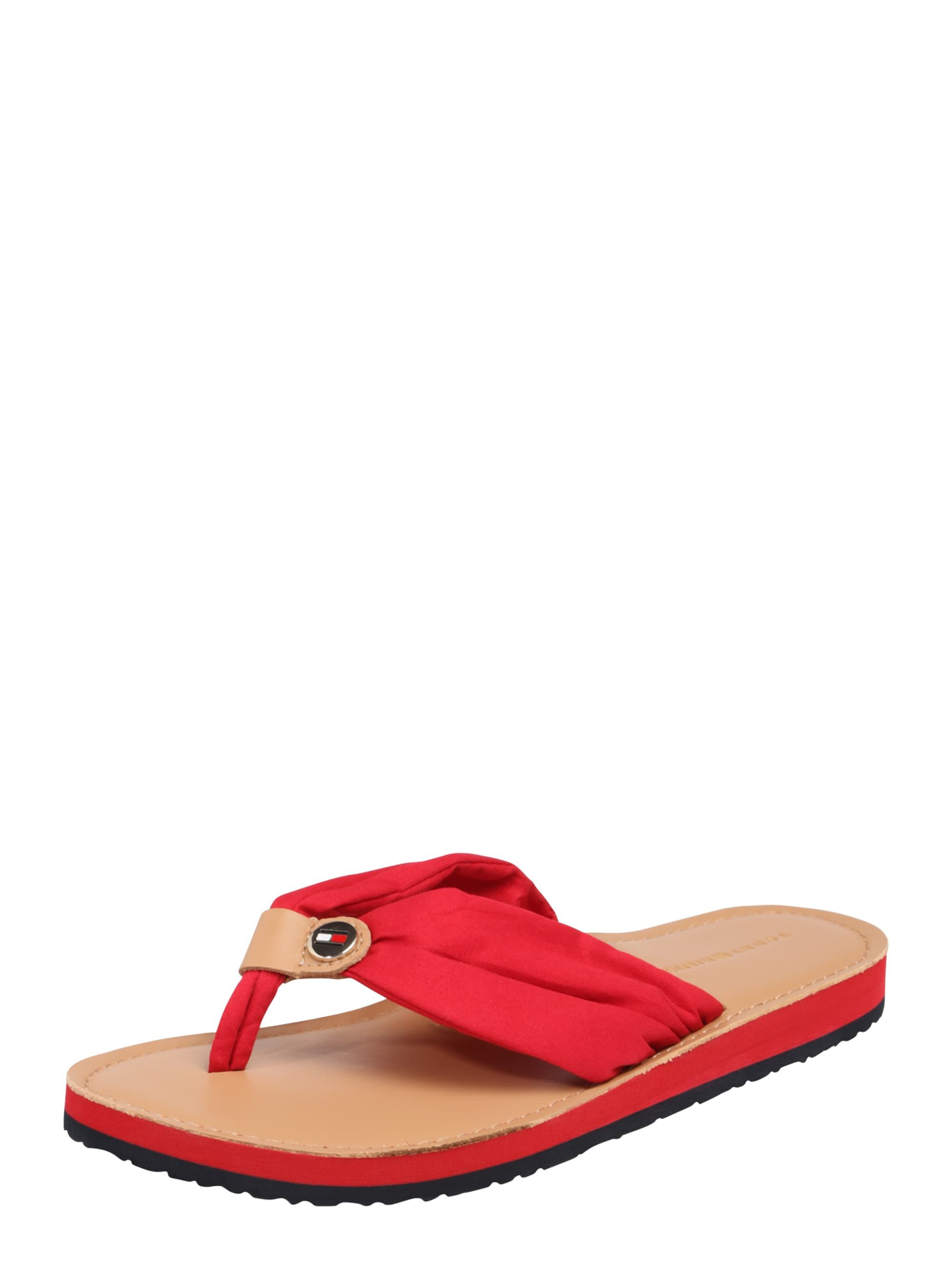 Damen Tommy Hilfiger Zehentrenner Mit Label Applikation Braun Rot Kategorie Damen Sandalenschuhezehentre Mens Flip Flop Birkenstock Gizeh Shoes