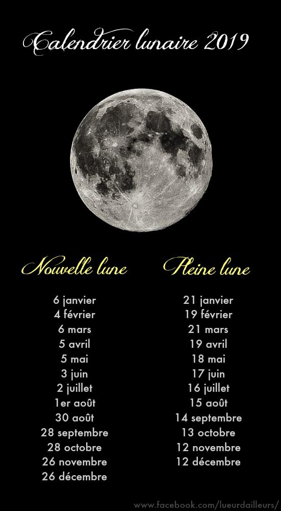 Calendrier Lunaire 2019 Dates Des Nouvelles Lunes Et