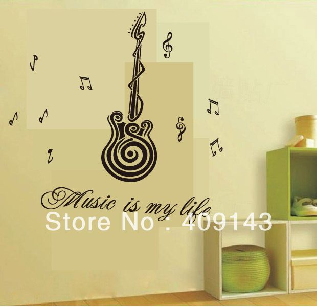 Guitar Music is my life note Removable Wall Stickers Art quote ...