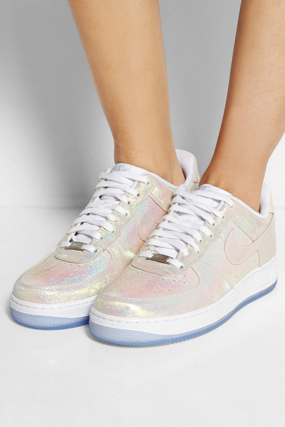 brand new e2628 759be NIKE Air Force 1 iridescent leather sneakers