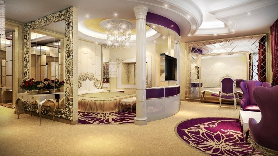 Luxurious Dream Home Master Bedroom Suite Seating Mansion Real Estate Facebook VaLuxuryHouses Aristo Castle Luxury Mirror