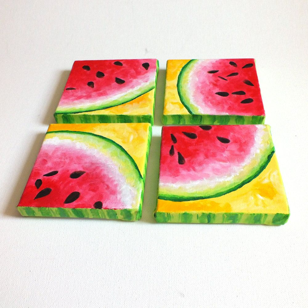 Original Painting Four Square Watermelons 5 X5 Acrylic On Canvas Decor For