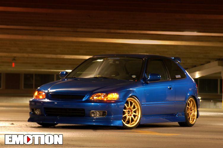 honda-civic-ek-blue-volk-ce28n-gold   Honda   Honda civic, Honda
