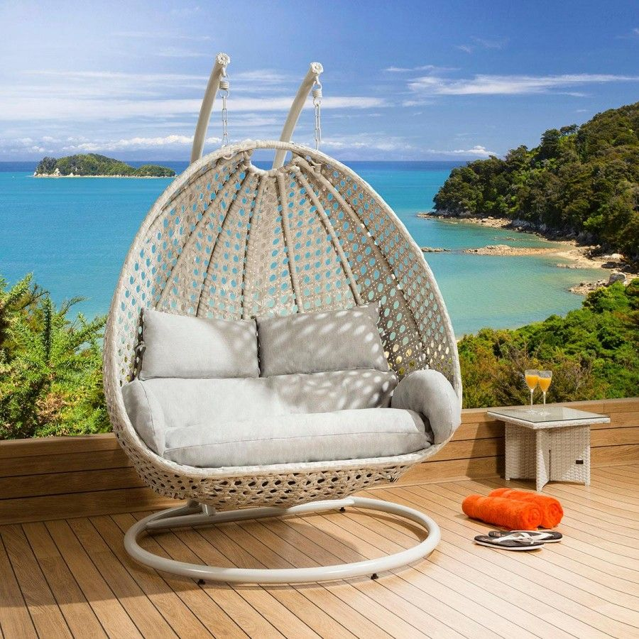 Luxury outdoor person garden pod hanging chair swing stone grey