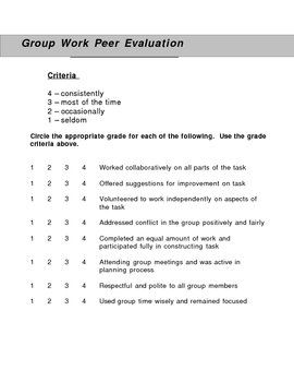 Group Work Peer Evaluation Form  Group Work Group And Teacher
