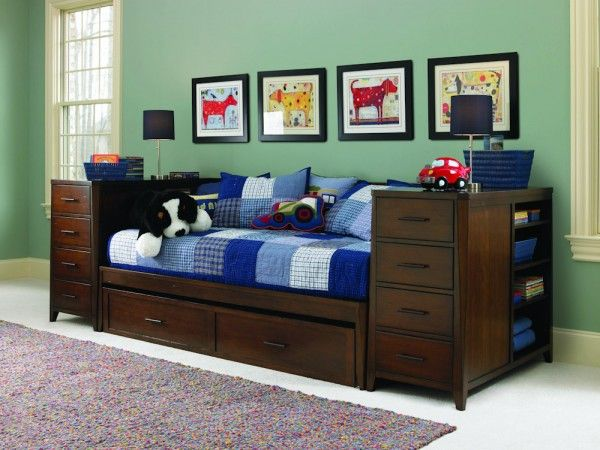 Kendall Twin Daybed With Trundle And Storage Piers For Dark Cherry Wood Design
