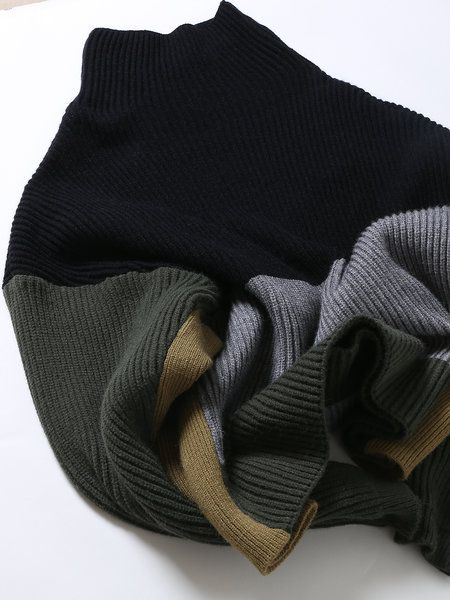 Army Green Color Block Knitted Turtleneck Casual Sweater