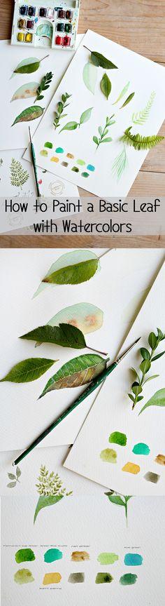 Como pintar una hoja sencilla en acuarela