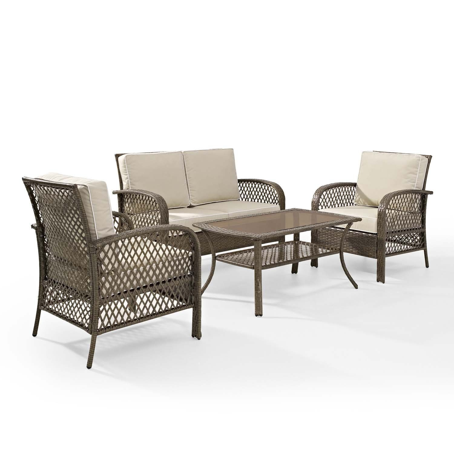 Tribeca 4 Piece Deep Seating Group Outdoor Patio Conversation Set A Uv Protection Wicker Ra With Images Outdoor Wicker Seating Patio Sofa Set Traditional Patio Furniture