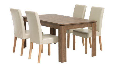 Asztal VEDDE + 4 szék TUREBY krém | JYSK | Dining chairs