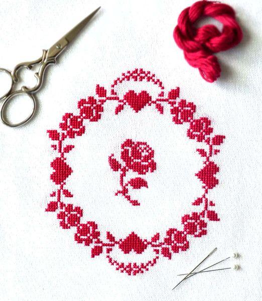 Photo of Redwork Roses ~ Free PDF Cross Stitch Pattern