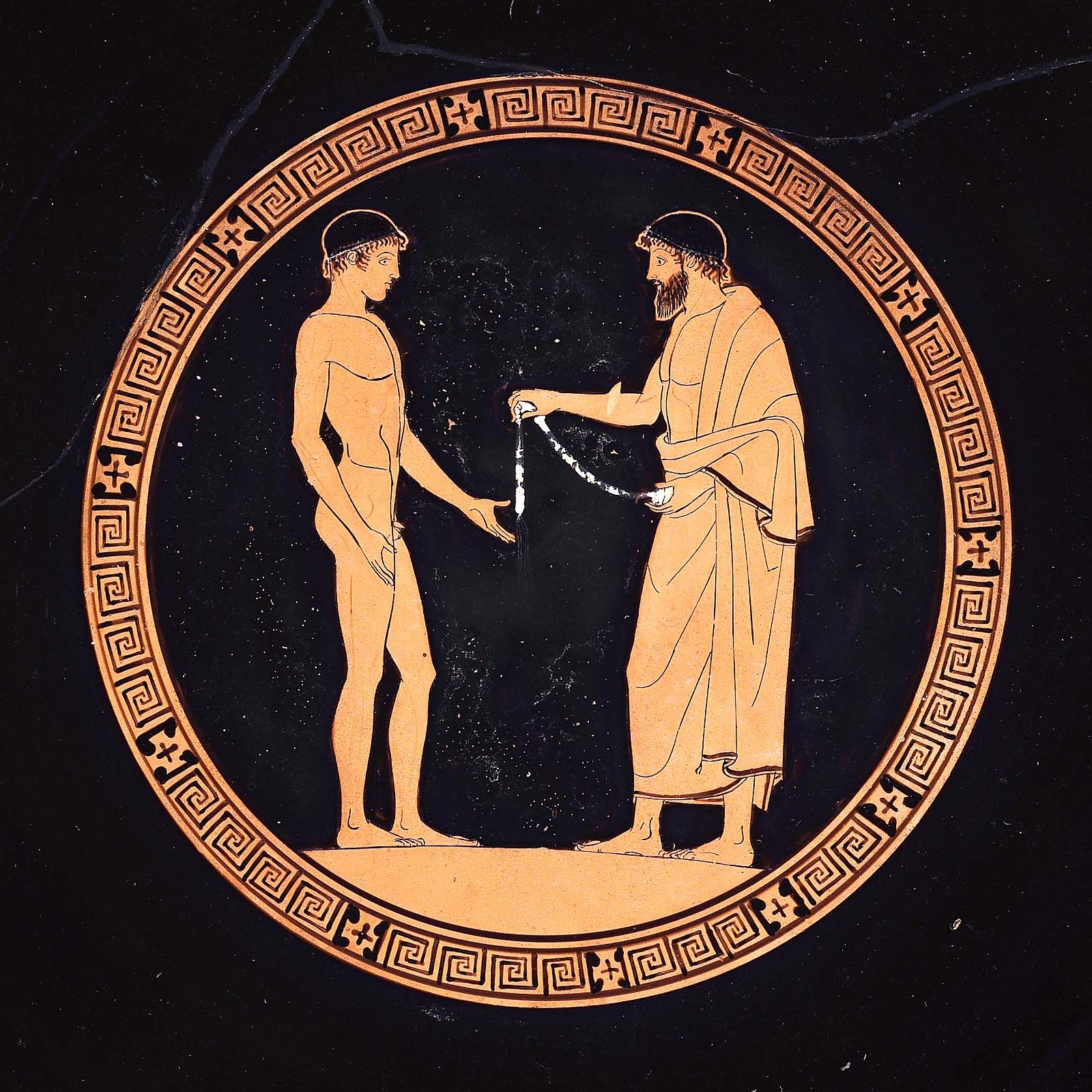 Drinking cup (kylix) depicting athletes and judges about 460 B.C. the Euaion Painter Greek Athletes | Museum of Fine Arts, Boston